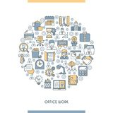 Flat line design office concept Royalty Free Stock Photos