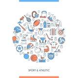 Sports and athletics concept. Flat line design concept on theme sports and athletics. Vector illustration Stock Photos