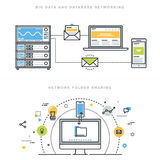 Flat line design concepts for database networking and network folder sharing. Flat line design vector illustration concepts for big data and data base networking Stock Images