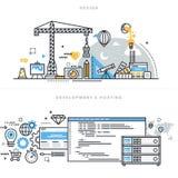 Flat line design concepts for graphic design, website development and hosting royalty free illustration