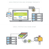 Flat line design concepts for internet security and email protection Stock Photos