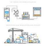 Flat line design concepts for mobile apps development and API testing Royalty Free Stock Images