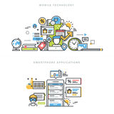 Flat line design concepts for mobile apps and services Stock Photo