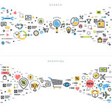Flat line design concepts for search and shopping Royalty Free Stock Images