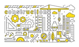Flat Line Design With Contruction And Architect Theme. Building Design Concept With Yellow Color royalty free illustration