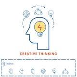 Flat line design creative concept. Creativity idea inspiration business idea, Planning, smart solution and success ideas icons Stock Images