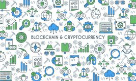 Flat line design cryptocurrency banner. Flat line design banner on theme blockchain and cryptocurrency. Finance computer network signs. Vector illustration Stock Photography