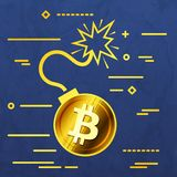 Flat Line design graphic image concept of  bitcoin bomb icon on. A blue vector paper layer background Stock Image