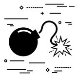 Flat Line design graphic image concept of bomb icon on a white b. Ackground Royalty Free Stock Photo
