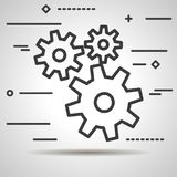 Flat Line design graphic image concept of gears icon on a white Stock Photography
