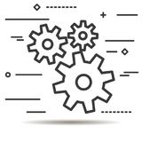 Flat Line design graphic image concept of gears icon on a white Stock Image