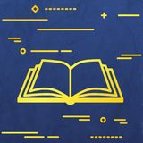 Flat Line design graphic image concept of open book icon on a bl Royalty Free Stock Image
