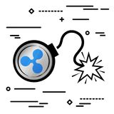Flat Line design graphic image concept of ripple xrp bomb icon o. N a white background Stock Photos