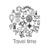 Flat Line design graphic image concept, website elements layout of Time to Travel. Travel time poster with sun, helicopter, mounta. In, tower, palm tree, island Royalty Free Stock Photos