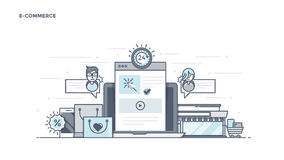 Flat Line Design Header - E-Commerce. Modern Flat Line Color hero image of E-Commerce for website and mobile website, easy to use and highly customizable. Modern vector illustration