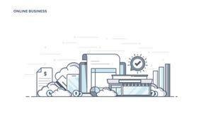 Flat Line Design Header - Online Business Stock Image
