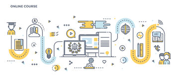 Flat Line Design Header - Online course. Modern Flat Line Color illustration Concept for Online Course. Concepts web banner and printed materials. Vector Royalty Free Stock Photography