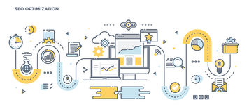 Flat Line Design Header - Seo Stock Images