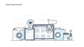 Flat Line Design Header - Smart Healthcare. Modern Flat Line Color hero image of Smart Healthcare for website and mobile website, easy to use and highly Royalty Free Stock Photography