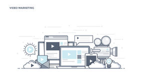 Flat Line Design Header - Video Marketing. Modern Flat Line Color hero image of Video Marketing for website and mobile website, easy to use and highly royalty free illustration