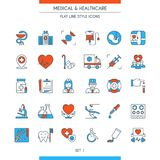 Flat line design medical icons 1. Flat line design icons on medical theme. Health insurance, medical service, healthcare, cardiology, pharmacy, medical equipment Royalty Free Stock Photography