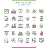 Icons set on theme security Stock Image