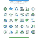 Flat line design cryptocurrency icons. Flat line design icons on theme blockchain and cryptocurrency. Finance computer network signs. Vector illustration Royalty Free Stock Photo