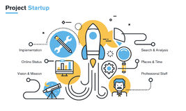 Flat line design illustration of project startup process Stock Photo