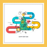 Flat line design New Year greeting card. Vector illustration for website banner and marketing material royalty free illustration