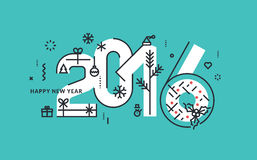 Flat line design New Year's vector illustration. For greeting card and banner Stock Photography