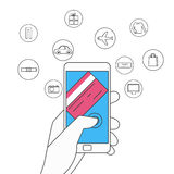 Flat line design. Online shopping and mobile payments concept. Hand holding smartphone with icons set. Royalty Free Stock Photos