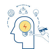 Flat line design Piracy concept. Thief stealing light bulb idea from a head. Royalty Free Stock Images