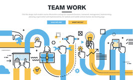 Flat line design style modern vector illustration concept for corporate business. Teamwork, management, brainstorming, planning, organization and stock illustration