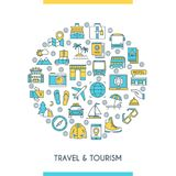 Flat line design travel concept Royalty Free Stock Photography
