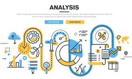 Flat line design vector illustration concept for data analysis Stock Photography
