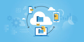 Flat line design website banner of business cloud computing Stock Photography