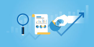 Flat line design website banner of business research and analysis Stock Photo