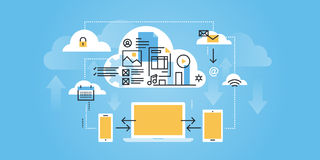 Flat line design website banner of cloud computing Royalty Free Stock Image