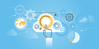 Flat line design website banner of cloud computing technology Stock Images