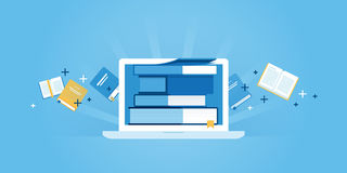 Flat line design website banner of e-learning Royalty Free Stock Photo