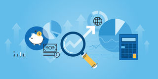 Flat line design website banner of financial analysis Stock Images