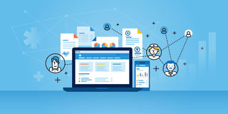 Flat line design website banner of health plan management solutions Stock Image