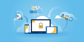 Flat line design website banner of internet security Royalty Free Stock Image