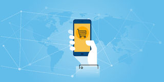 Flat line design website banner of mobile commerce Stock Photography