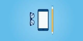 Flat line design website banner of mobile reminder Stock Image