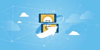 Flat line design website banner of online share ideas platform, idea management software. Modern vector illustration for web design, marketing and print Stock Images