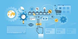 Flat line design website banner of online shopping procedure Royalty Free Stock Image