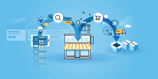 Flat line design website banner of online shopping procedure Royalty Free Stock Photo