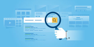 Flat line design website banner of web search Stock Image