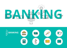 Flat line design word BANKING concept with icons and elements. Can be used for book cover, report header, presentation,infographics, printing, website banner Royalty Free Stock Image